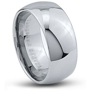 Men-039-s-10mm-Wide-Tungsten-Carbide-Band-Comfort-Fit-Ring-Round-High-Polish-TCR048