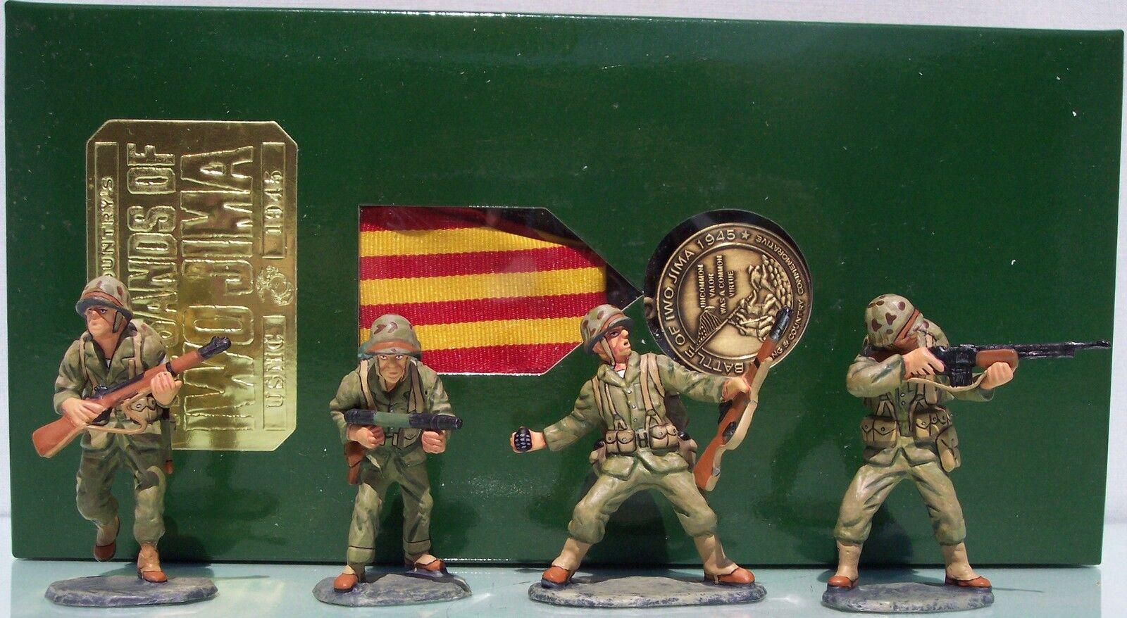 King & Country Iwo Jima 55TH Aniversario Set 2 EE.UU. Marines Fuego Soporte Exib