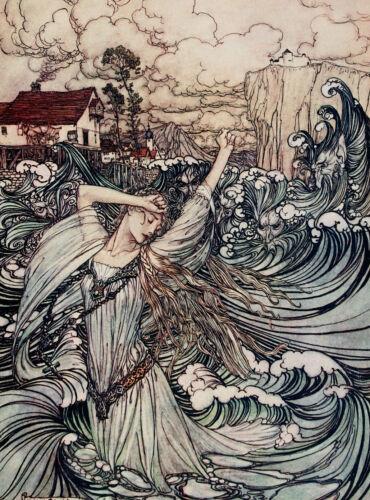"Arthur Rackham /""Undine Plunges into the Danube/"" Painting Real Canvas Art Print"