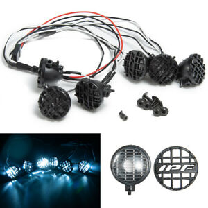 6LED-White-Lights-w-Lampshade-for-1-10-Traxxas-TRX4-HSP-Redcat-SCX10-RC-Crawler