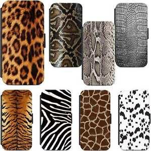 buy popular 9478d ab363 Details about Wildlife Dog Animal Print Fur Skin Wallet Flip Phone Case  Cover iPhone Samsung