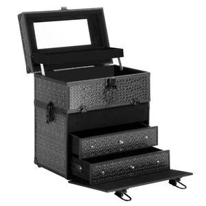 Portable Cosmetic Beauty Make Up Carry Case Box Crocodile Black