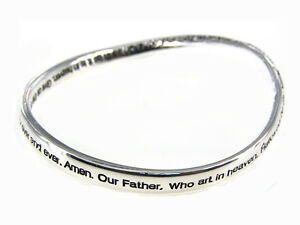 4030015 The Lord's Prayer Twisted Bangle Bracelet Our Father Christian Religious