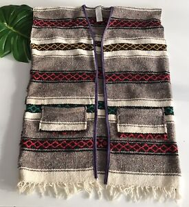 Mexican-Blanket-Vintage-Baja-Wool-Stripe-Aztec-Wrap-Fringe-Jacket-Womens-Large