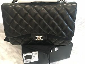 9d5479b90d6d8e Image is loading BNIB-Chanel-Classic-Single-Flap-Quilted-Black-Lambskin-