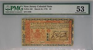 New Jersey Colonial Note 3 Pounds Fr Nj