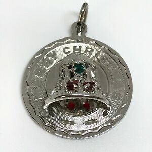 Vintage 925 Sterling Silver Merry Christmas Charm Pendant
