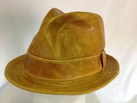 Jill Corbett Fedora 'Snatch' hat whisky leather Handmade in England S/M/L/XL