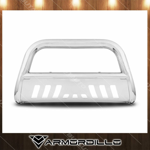 03-09 Lexus GX470 Topline Autopart Matte Black AVT Style Aluminum LED Light Bull Bar Brush Push Front Bumper Grill Grille Guard With Stainless Skid Plate For 03-09 Toyota 4Runner