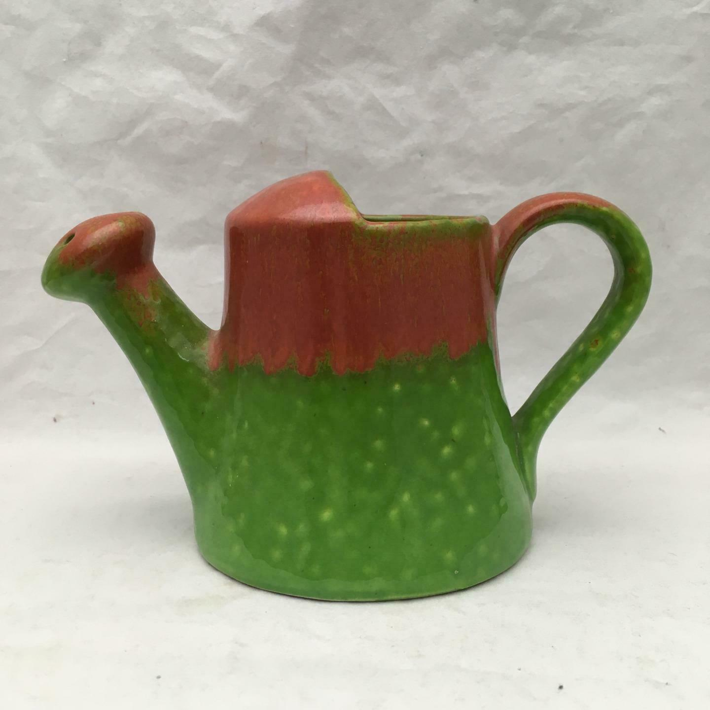 Vintage Pottery Watering Can Green & Brown w Foil Label ACTIVE Stamped ITALY 5