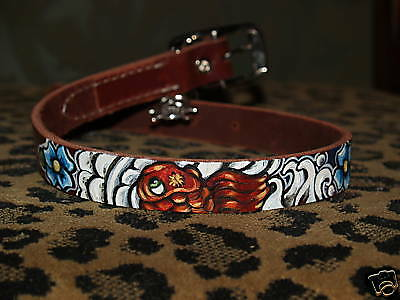 Tattoo Leather DOG collar KOI Asian wave Flowers oni extra large