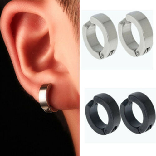 Hot 1 Pair Men Stainless Steel Non-Piercing Clip On Ear Stud Cuff Hoop Earrings