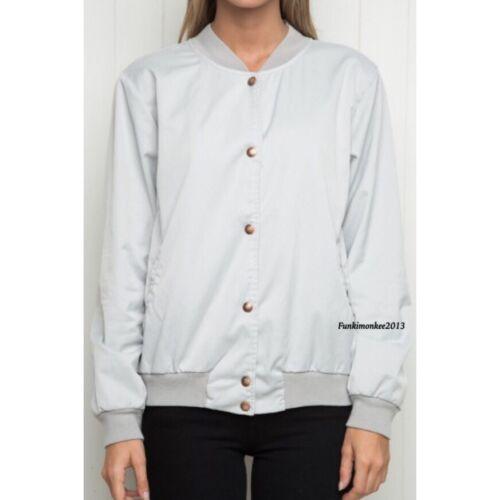 Os Up Nwt Brandy Grå Jacket Button Bomber Satin Nella Melville wz7nP