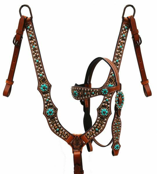 Showman  Brown alligator print headstall and  breast collar with teal conchos  online sale