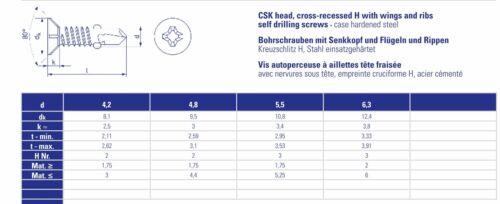 200 bohrschrauben-ailes bohrschrauben 4,2x45mm fräsrip senkkopf M bois-métal