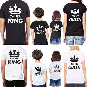 abbc0999 Couple King Queen Princess Prince T-shirt Love Matching Family Tee ...