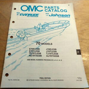 Details about Evinrude Johnson 70 HP Outboard Motor Parts Manual Catalog  1990