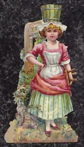 Large-Victorian-Die-Cut-Scrap-Milk-Maid-with-Pail-on-Head-amp-Stool-in-Hand-7-5x4-034