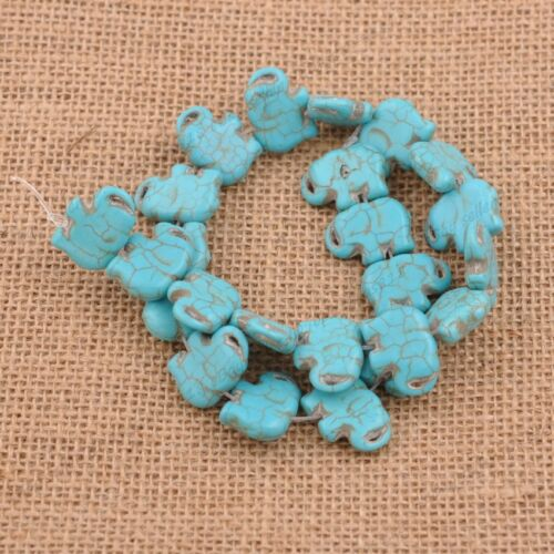 "15/""Turquoise Gemstone big Spacer Loose Elephant Beads Charm Findings DIY"