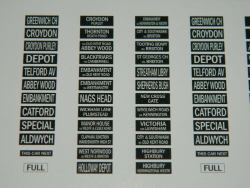 London Heritage Tram Self Adhesive Destination Blinds for OO scale 1//76 Corgi