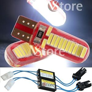 2 Lampade Led T10 24 SMD 4014 COB Gel No Errore CDB Canbus BIANCO + 2 RESISTENZE