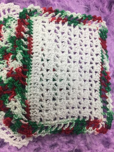 SALE!! Two Christmas Crocheted Miniature Dollhouse Blankets