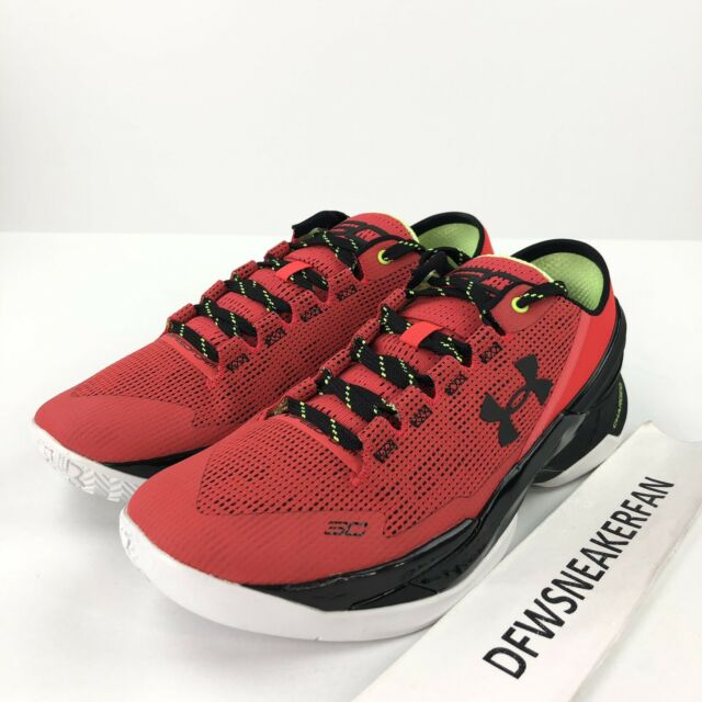 best service fd677 10f0a Under Armour Mens Curry 2 Low Basketball Shoes Size 9.5 Energy Red Black  1264001