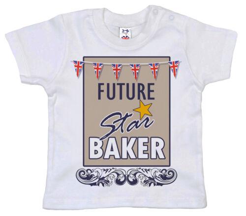 """Baby Bake Off T-shirt /""""Future Star Baker/"""" British GBBO Tee Garçon Fille Cadeau"""