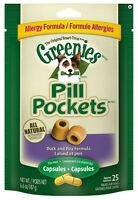 Greenies Pill Pockets For Dogs 6.6oz Capsule Duck Allergy Flavored