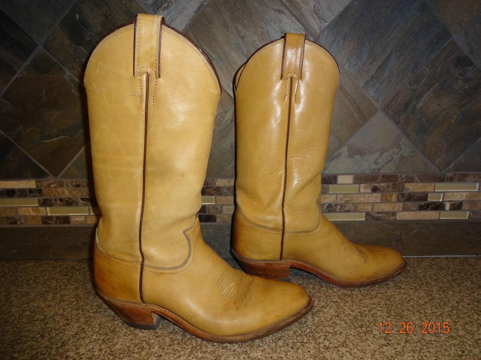 Uomo JUSTIN Sz 7.5D Style #1106 Tan/Camel ALL Pelle Cowboy Stivali