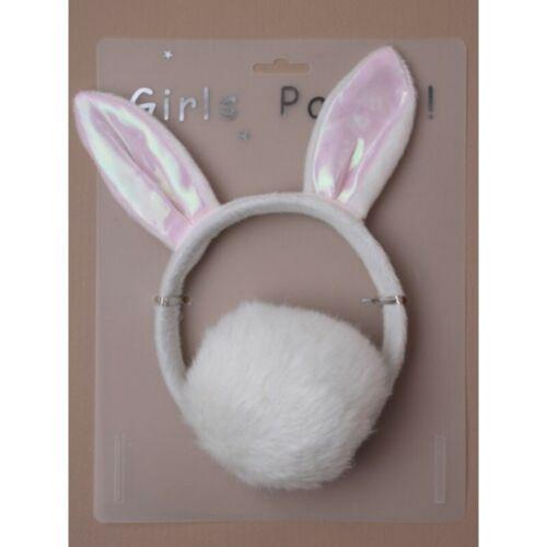 Bunny Rabbit Orecchie Ragazze Costume Nubilato Fascia per capelli peloso morbido e Coda Set
