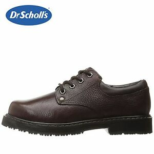657f11829d07 Mens Dr. Scholl s Harrington II Work Shoe BRN Leather Slip-Resist ...