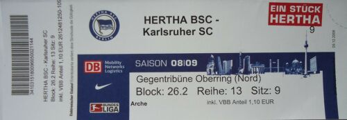 TICKET 2008//09 Hertha BSC Berlin Karlsruher SC