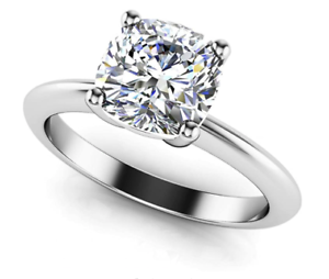 1.00 Carat Solitaire Diamond Engagement Ring Certified Cushion Cut E - SI1 GIA