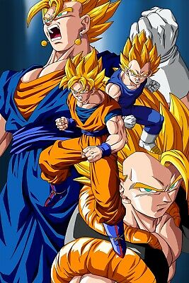 Dragon Ball Poster Vegeta and Goku SSJ Gogeta Vegeto12inx18in Free Shipping