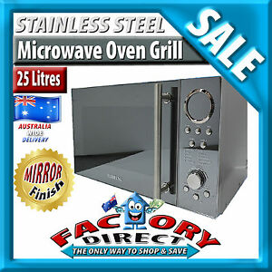 25Litre-Stainless-Steel-Digital-MICROWAVE-OVEN-1400W-Quartz-GRILL-Mirror-Finish