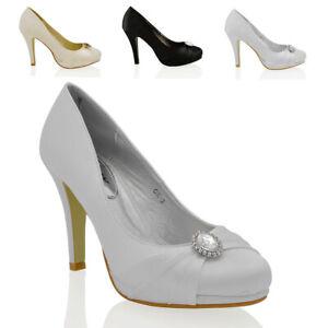 Para-mujeres-Zapatos-De-Novia-Plataforma-Tacon-Stiletto-Damas-Bombas-De-Raso-Talla-3-8