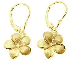 13MM SOLID 14K WHITE GOLD DC MATTED HAWAIIAN PLUMERIA FLOWER LEVERBACK EARRINGS