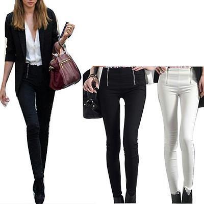 Women Sexy Fashion European Zipper Pencil Pants Slim Stretch Leggings Trousers