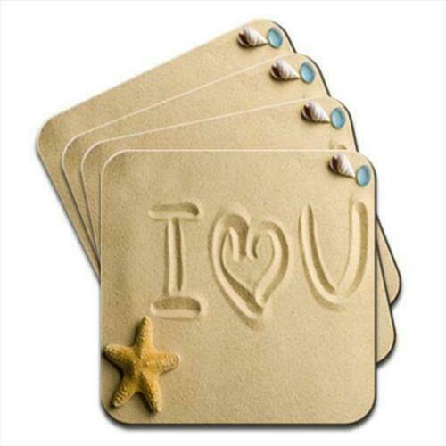 I Love You In Sand At Beach Romance Set of 4 Coasters