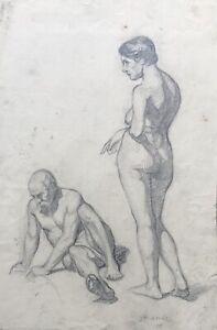 Dibujo-de-Pie-Mujer-Masculino-Desnudo-Macho-Hembra-Firmado-Estilo-Moderno