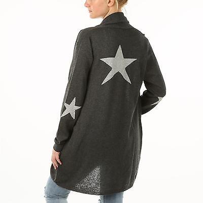 SELECTED TOUCH Italy Schalkragen Strickjacke Cardigan STAR Sterne BASALT grau