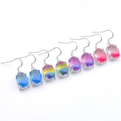 4 pcs 1 Lot Handmade Bi-Color TOURMALINE GEMS Silver Dangle Crochet Boucles d/'oreilles Set