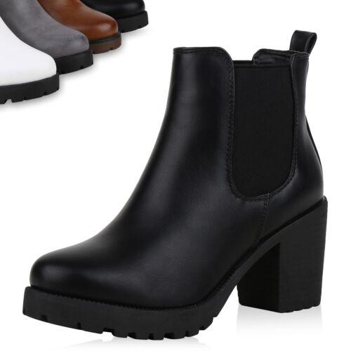 892376 Damen Stiefeletten Chelsea Boots Plateau Booties Profil Schuhe Top