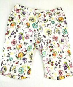 Briggs-Casual-Long-Shorts-Bermuda-Sz-L-XL-Floral-Fruit-Print-Stretch-White
