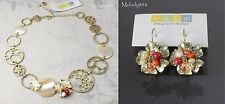 BOHM Flower French HEIRLOOM Necklace SET Vintage Gold/Coral/Cream Swarovski BNWT