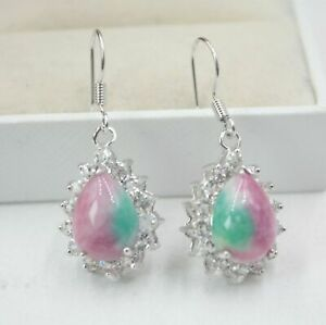 Red-Green-Jade-Teardrop-Drop-Imitation-Diamond-Gold-Plated-Hook-Dangle-Earrings