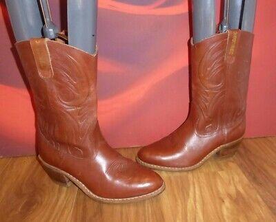 * 45 * Vaquero Cowboy Western Dancing Marrone Pelle Stivali Uk 8.5-mostra Il Titolo Originale Lussuoso Nel Design