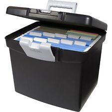 Storex Black Portable Filing Cabinet Hanging File Folder Box XL With Storage Lid