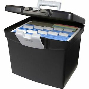 storex black portable filing cabinet hanging file folder box xl with storage lid ebay. Black Bedroom Furniture Sets. Home Design Ideas